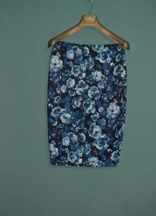 Стильная базовая юбка карандаш с цветочным принтом