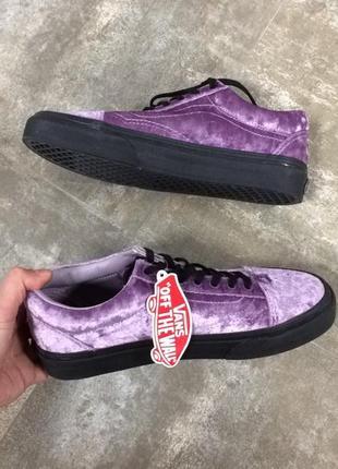 Оригінал old skool velvet sea fog and black skate shoes from vans