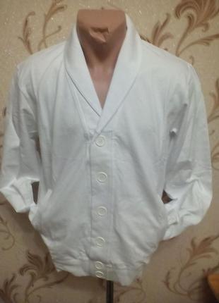 Мужская кофта на пуговицах,классика,,белая,л,хл,ххл