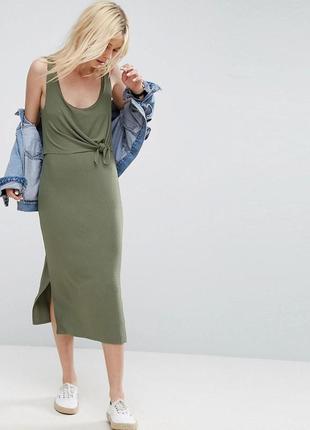Новое миди платье в рубчик из вискозы