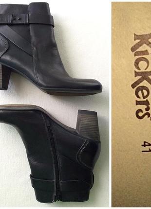 Kickers элегантные кожаные ботильоны на низких устойчивых каблуках