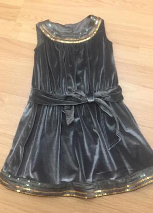 Нарядное велюровое платье  marks$spencer на 2-3 года