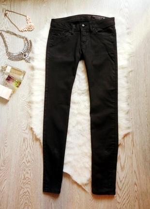 Черные плотные джинсы скинни узкачи с молниями замками внизу серые