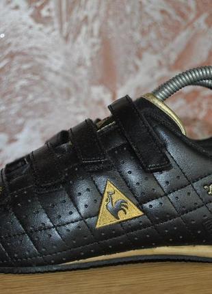 Кожаные чёрные кроссовки на липучках le coq sportif made in vietnam