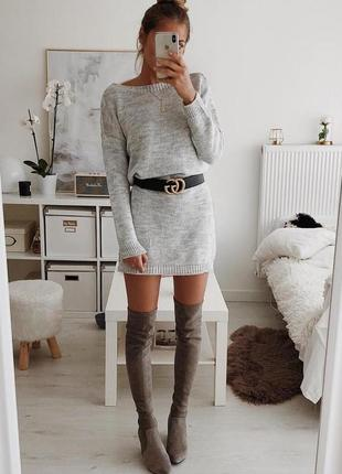Серое теплое вязанное платье свитер lc waikiki xs,m