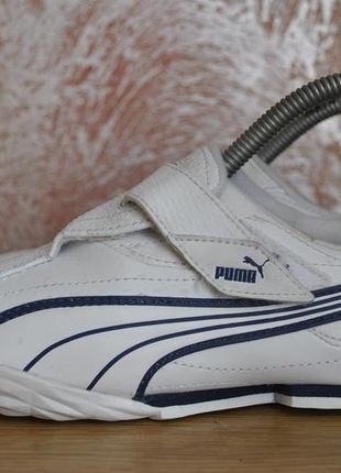 Кожаные белые кроссовки puma на липучке