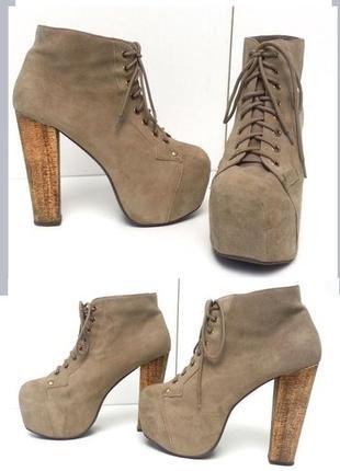 Jeffrey campbell lita оригинал, натуральная замша ботинки ботильоны