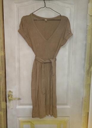 Нюдовое миди платье milavitsa