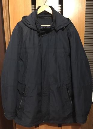 Мужская демисезонная куртка с подстежкой большого размера темного синего цвета