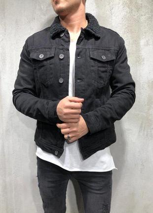 Очень стильная мужская джинсовка с мехом