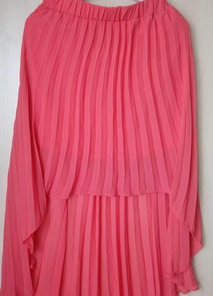 🍀стильная нарядная лёгкая асимметричная миди юбка плиссе