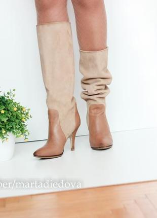 Кожаные итальянские сапоги трубы на каблуке, натуральная кожа и замша,бренд bata