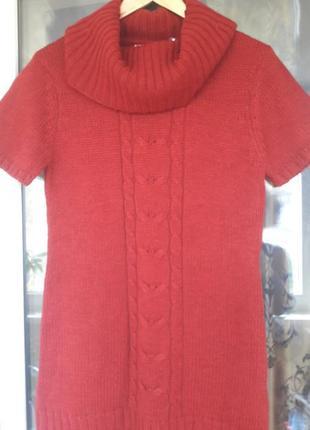 Шикарное темно красное платье-свитер. на фото выглядит светлее, чем в реальности