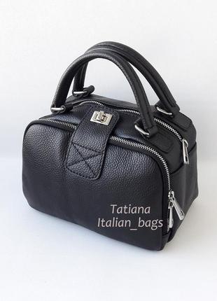 Крутая кожаная сумка мини чемоданчик, черная. италия