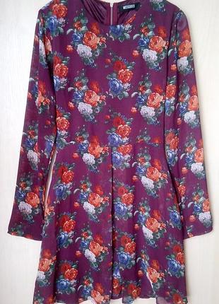 🍀красивое шифоновое платье в цветы с длинным рукавом missguided