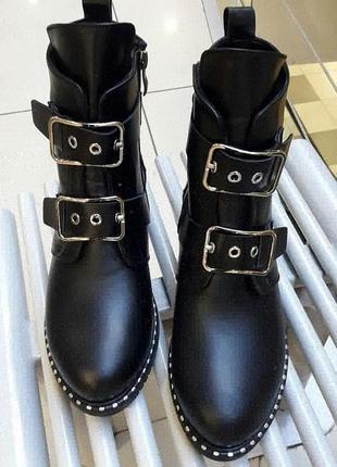 Женские ботинки зима, черные, натуральная кожа