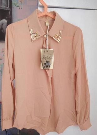 Новая блуза рубашка!цвет пудра!