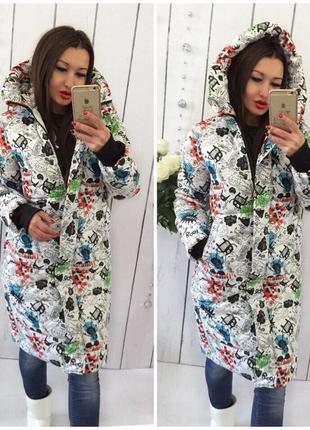 Куртка-пальто дутое мега-теплое зимнее коты