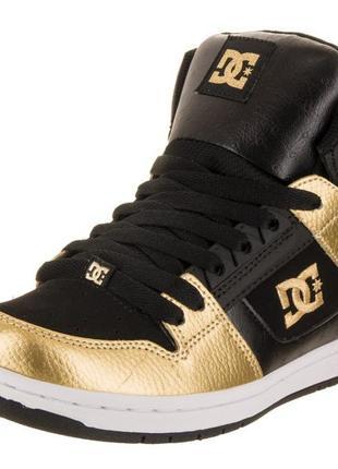 Кожаные dc shoes р. 42-43 ст. 28 см. золотые кроссовки