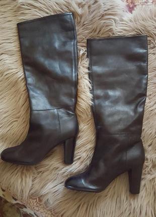Сапоги черные penny black,сапоги кожаные max mara,кожаные черные сапоги,сапоги на каблуке