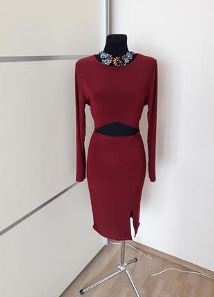 1+1=3 шикарное платье  миди с вырезом