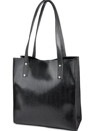 Сумка-шоппер на плечо черная с длинными ручками под кожу питона