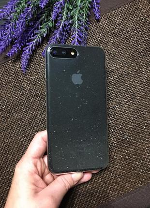 Крутой силиконовый прозрачный чехол с блестками на айфон iphone 7 plus 8 plus