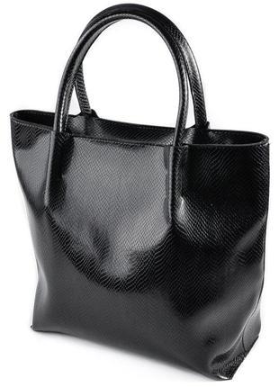 Черная сумка-шоппер на плечо под кожу питона