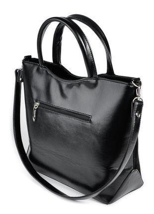 Замшевая деловая сумка черная с ручками и ремешком2