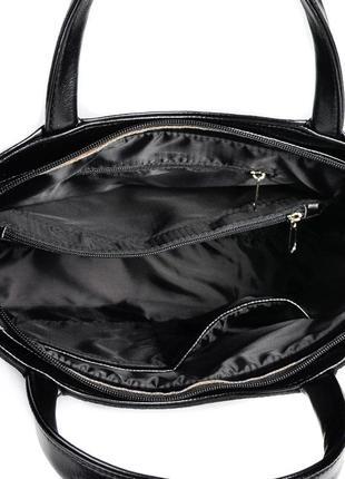 Замшевая деловая сумка черная с ручками и ремешком4