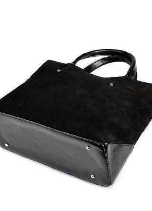 Замшевая деловая сумка черная с ручками и ремешком3