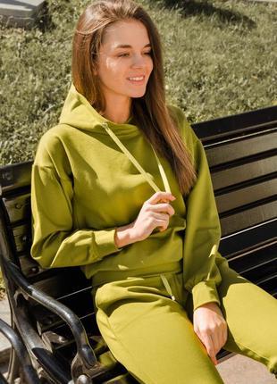 Стильный спортивный прогулочный оливковый хаки костюм s 44 36