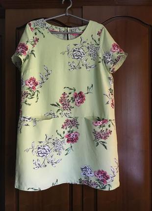 Платье туника цветочный принт короткий рукав свободного кроя ( joules )