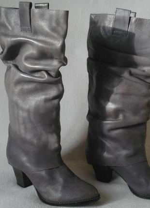 36 -37 р./23,5 cм. полностью кожаные сапоги/трубы alba moda