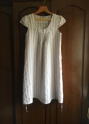 Льняное платье короткий рукав в вертикальную полоску trlih benson ( италия )