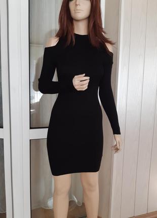Платье в рубчик открытые плечи