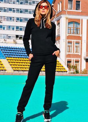 0078 черный спортивный костюм на флисе2