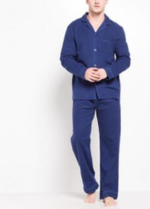 Мужская синяя пижама на пуговицах с брюками.м.распродажа.