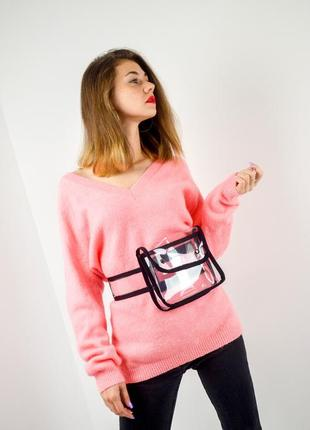 Asos пушистый трикотажный oversize - джемпер неонового цвета, свитер, свободная кофта