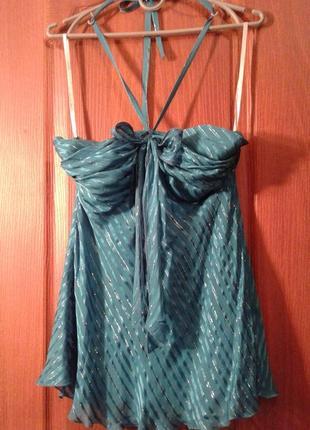 Блуза-лиф- топ с завязками на шее шелк 100%