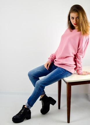 Cos розовый фактурный джемпер, кофта, свитер свободного кроя, свитшот