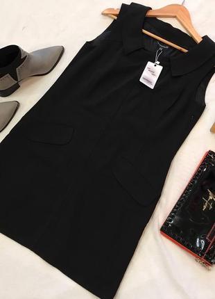 Стильное классическое платье прямого кроя с воротником warehouse