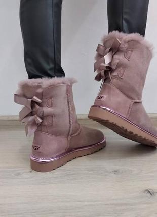 Ботинки угги уги ugg australia с двумя бантами сзади розовые