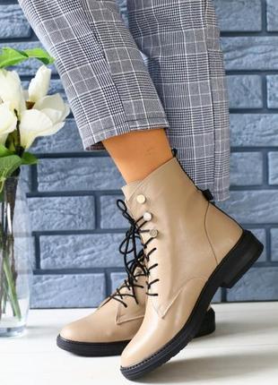 Женские зимние ботинки на шнурках бежевого цвета 36-40 р