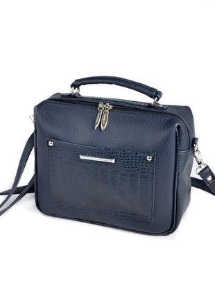 Синяя маленькая сумка чемоданчик через плечо с ручкой