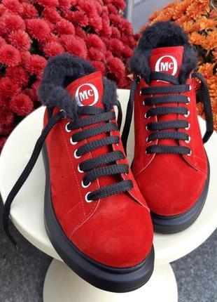 Мега крутые зимние кроссовки кеды ботинки из натуральной замши