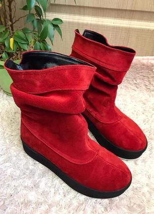 Зимние ботинки на платформе натуральная кожа замш несколько цветов 36 37 38 39 40