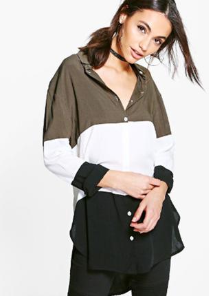 Удлиненная рубашка с цветовыми блоками от boohoo