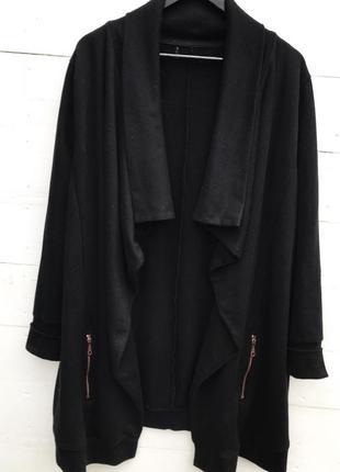 Стильный кардиган, чёрного цвета с карманами/большого размера!