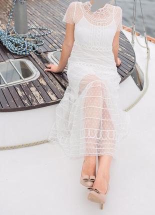 Сарафан, платье двойка горох, фатин, драпировка, белого цвета, свадебное , фотосессия